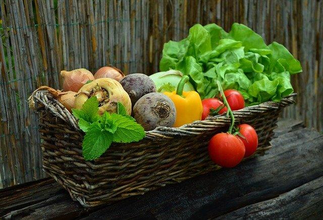 panier de légumes et de salade